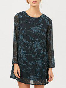 Long Sleeve Floral Jacquard Dress - Black Xs