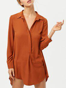 Self Tie Long Sleeve Shirt Dress - Brown M