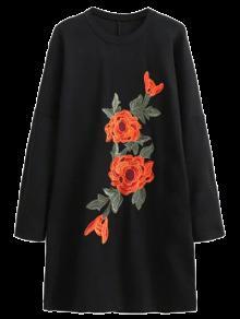Floral Embroidered Long Sleeve Black Shift Dress - Black S