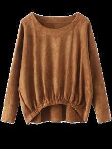 Suede Elastic Hem T-Shirt - Light Brown Xl