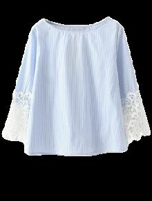 Lace Insert Striped Top Boat Neck Blouse - Blue M