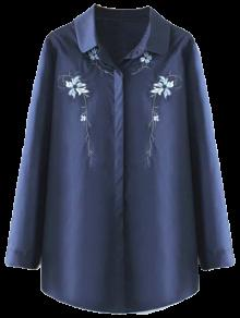 Plus Size Orchid Embroidered Shirt - Purplish Blue 2xl