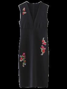 V Del Estampado De Flores Vestido De La Envoltura Del Cuello - Negro M