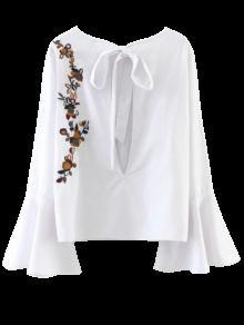Recortable La Llamarada De La Manga De La Blusa Floral Atado - Blanco M