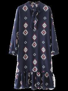 Bow Tie Collar Ruffles Robe Imprimée - Bleu Violet L