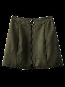 Suede Cremallera Mini Falda - Verde Negruzco S