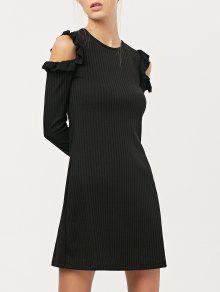 Long Sleeve Cold Shoulder A-Line Dress - Black S