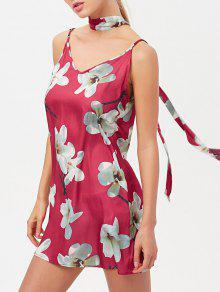 Floral Mini Dress With Silk Choker - Red L