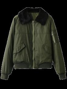 Fur Collar Padded Cargo Bomber Jacket - Army Green L