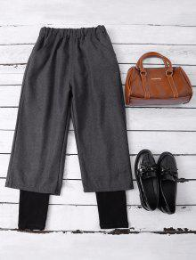 Elastic Waist Layered Wide Leg Pants - Deep Gray Xl