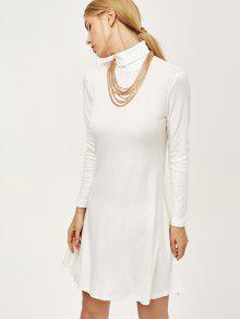 Turtle Neck Mini Swing Dress - White M