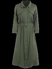 Camisa De Vestir Con Bolsillos Midi - Verde Del Ejército M