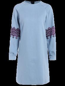 فستان الدنيم مع أكمام التطريز - الضوء الأزرق L