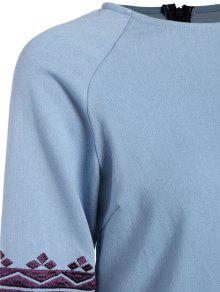 6f849621aa4 28% OFF] 2019 Embroidered Sleeve Denim Tunic Dress In LIGHT BLUE   ZAFUL