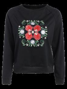 Bordado Floral De La Túnica Con Capucha - Negro M
