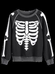 Loose Skeleton Sweatshirt - Deep Gray M