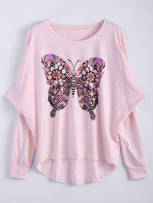 Butterfly Print Scoop Neck Longline Tee - Pink S