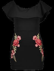 Floral Bordado Hombro Vestido Ajustado - Negro L