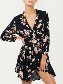 Floral Asymmetric Wrap Dress - Cadetblue M