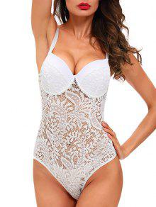 Sheer Lace Underwire Teddy - White M