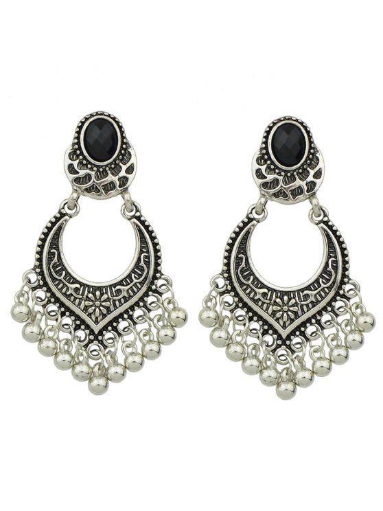 women's Bead Tassel Drop Earrings - SILVER