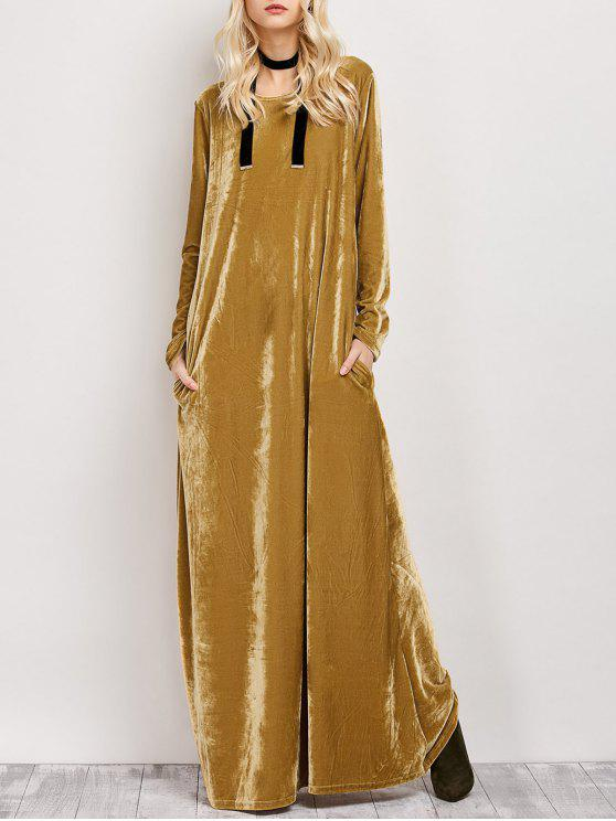 outfit Velvet Long Sleeve Maxi Dress - EARTHY L