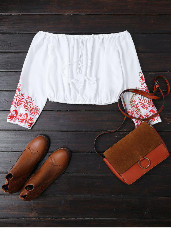 outfit Embroidered Off the Shoulder Cropped Blouse - WHITE M