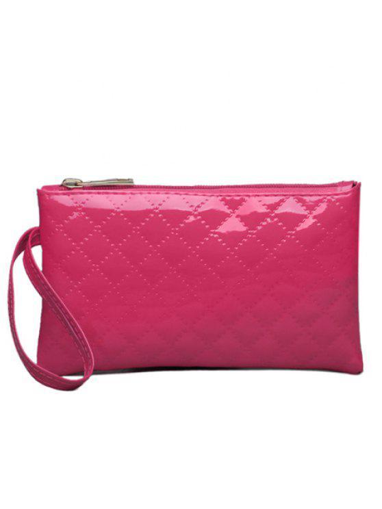 محفظة صغيرة من الجلد اللامع - وردة حمراء