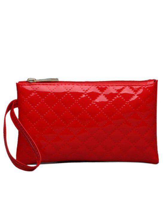 محفظة صغيرة من الجلد اللامع - أحمر