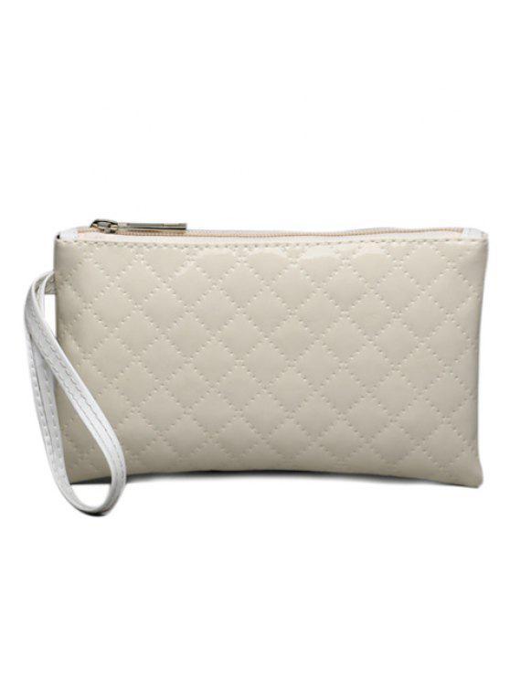 محفظة صغيرة من الجلد اللامع - أبيض فاتح