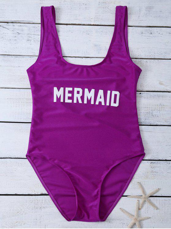 buy High Leg U Neck Swimsuit - PURPLISH RED S