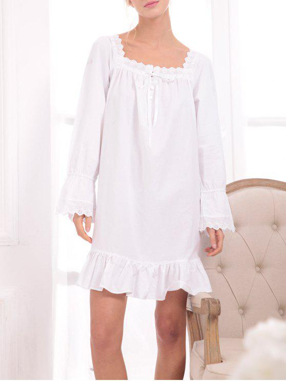 shops Flounced Lace Panel Princess Sleep Dress - WHITE XXS