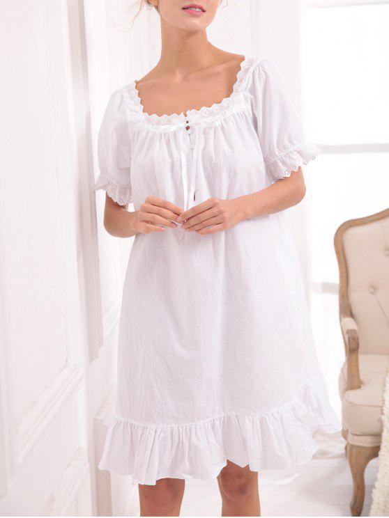 fashion Lace Panel Princess Sleep Dress - WHITE XS