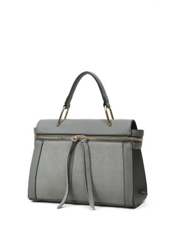 shop Zip Around Faux Leather Handbag - GRAY