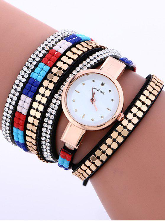 ladies Layered Studded Bracelet Watch - BLACK
