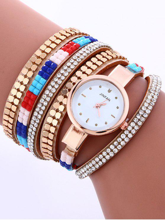 new Layered Studded Bracelet Watch - LIGHT CAMEL