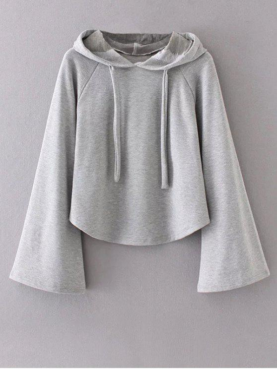 Slouchy Flare Sleeve Pullover Hoodie - Gray