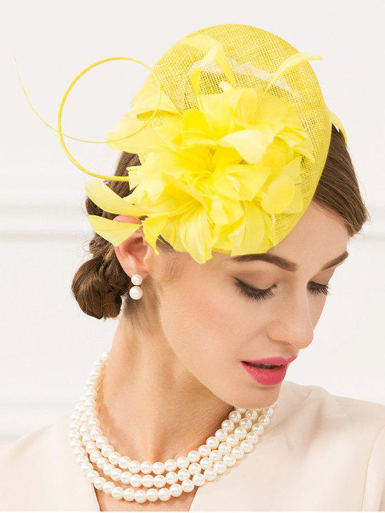 hot Flax Fascinator Hairband Pillbox Hat - YELLOW