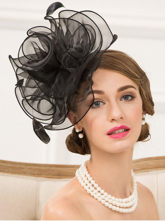 Organza Fascinator Sombrero Hairband - Negro