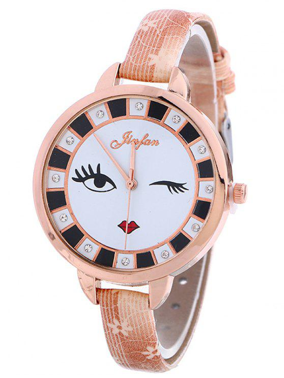 sale Rhinestone Cartoon Quartz Watch - PINK