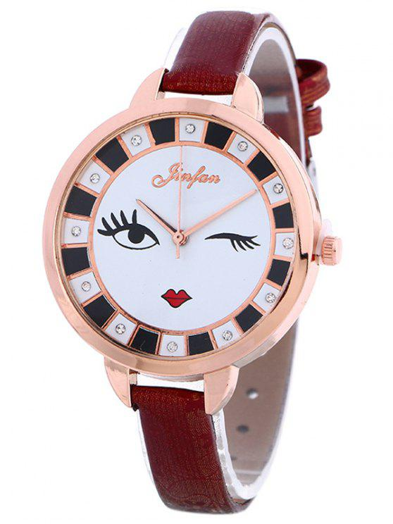 womens Rhinestone Cartoon Quartz Watch - WINE RED