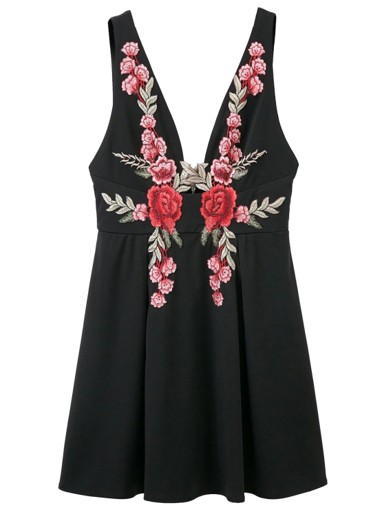 Floral Applique Low Cut Mini Vestido - Preto S