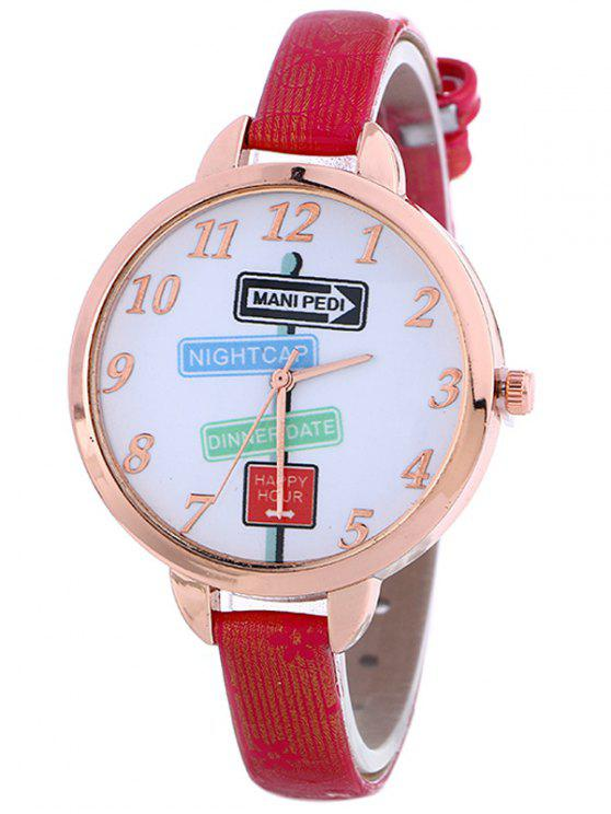 ladies Faux Leather Guidepost Pattern Quartz Watch - RED