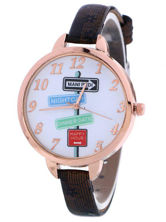 lady Faux Leather Guidepost Pattern Quartz Watch - BLACK