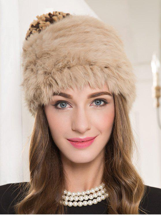 shop Faux Rabbit Fur Pom Hat - CAMEL