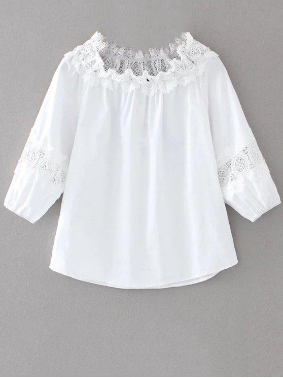 buy Boat Neck Lace Panel Top - WHITE M