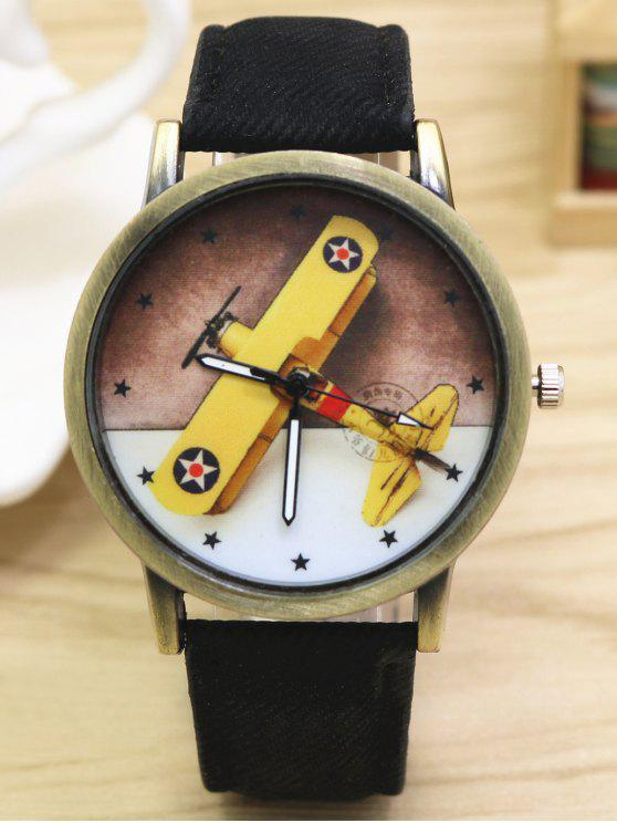 Cartoon Flugzeug-Quarz-Uhr - Schwarz