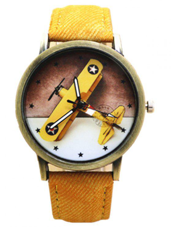 affordable Cartoon Airplane Quartz Watch - YELLOW