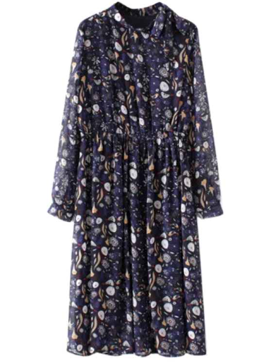 trendy Printed High Collar Chiffon Flowing Dress - PURPLISH BLUE S