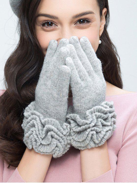 fancy Flouncing Wool Gloves - LIGHT GRAY